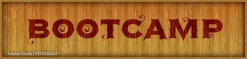 Fotografie, Obraz  Vintage font text BOOTCAMP on square wood panel background.