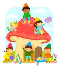 Little Dwarfs In A Mushroom Ho...
