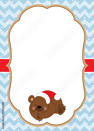 1038420 vector christmas and new year card template with a cute bear on chevron background