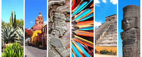 Photo sur Aluminium Mexique Set of banners with landmarks of Mexico