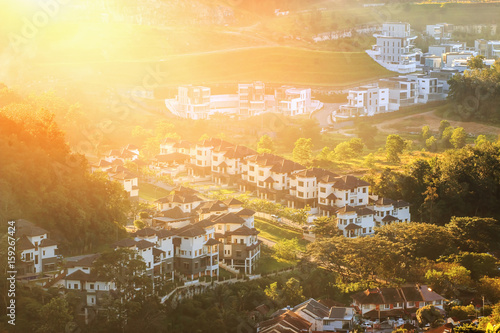 Photo  Aerial view of colourful new built houses and villa's in a residential area in K