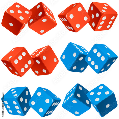 Vector Casino Dice Set Of Authentic Icons Red And Blue Pair Of