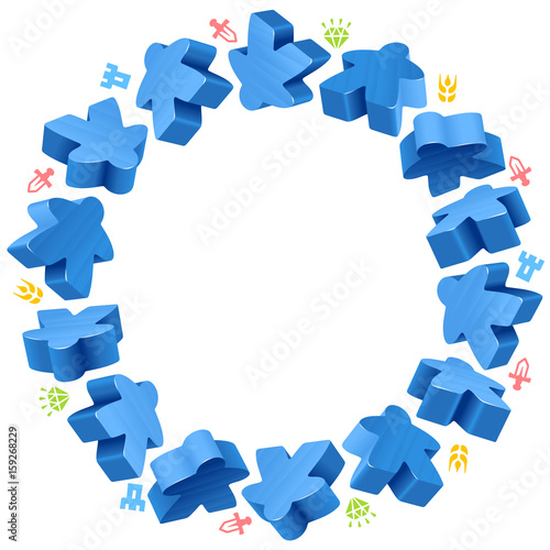 Circle Frame Of Blue Meeples For Board Games Game Pieces And