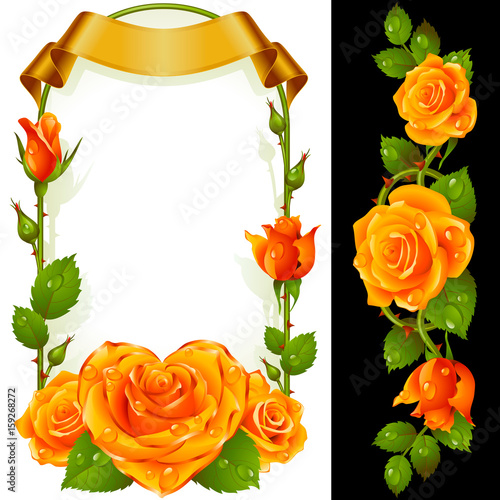Vector Set Of Floral Decoration Yellow Roses Green