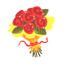 Red Roses Bouquet Cartoon Vect...