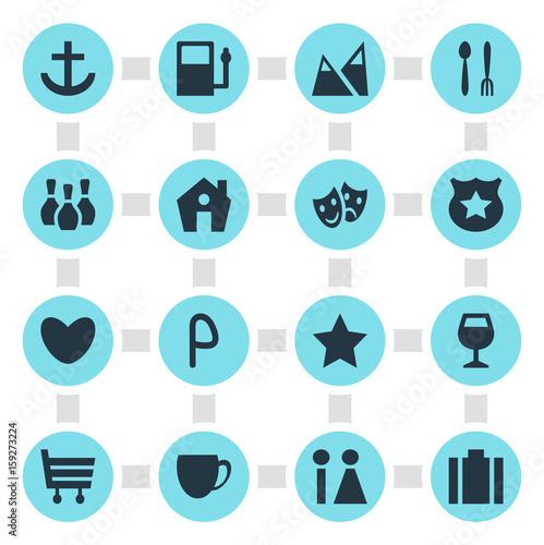 Fotografía  Vector Illustration Of 16 Check-In Icons
