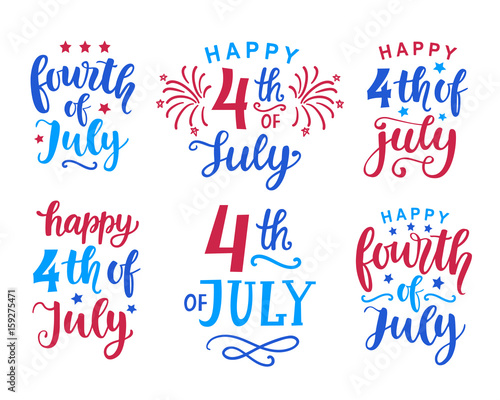 Fotografia  Fourth of July hand written ink lettering set