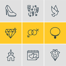 Vector Illustration Of 9 Wedding Icons. Editable Pack Of Sexuality Symbol, Decoration, Calendar And Other Elements.