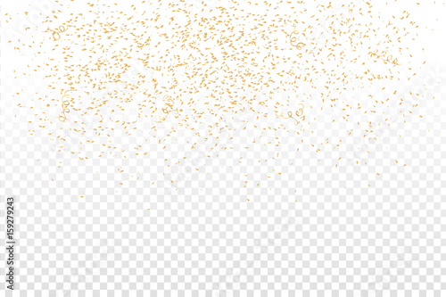 Fototapeta Vector realistic golden confetti on the transparent background. Concept of happy birthday, party and holidays. obraz na płótnie