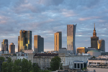 Warsaw city downtown view during sunse