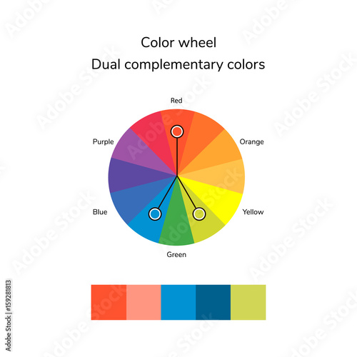 Vector Illustration Of Color Circle Split Complementary Color Buy