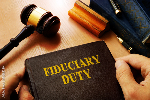 Hands holding Fiduciary duty in an court. Canvas