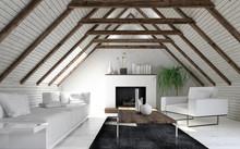 Attic Living Room In Minimalis...