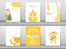 Set Of Cute Animals Poster,tem...