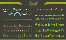 Set Of Flat Vector Forest Elem...