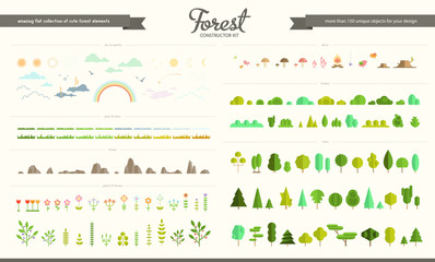 Set of flat vector forest elements