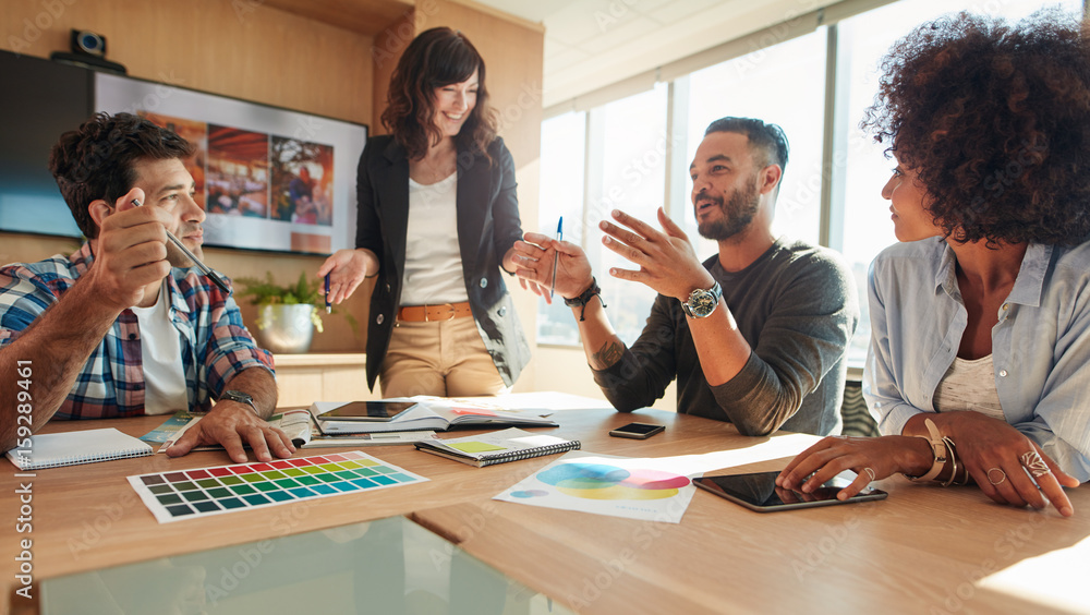 Fototapety, obrazy: Group of multi ethnic people during business meeting