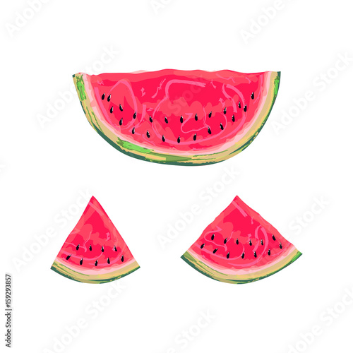 Photo sur Toile Empreintes Graphiques Slices of watermelon isolated on a white background. Vector illustration