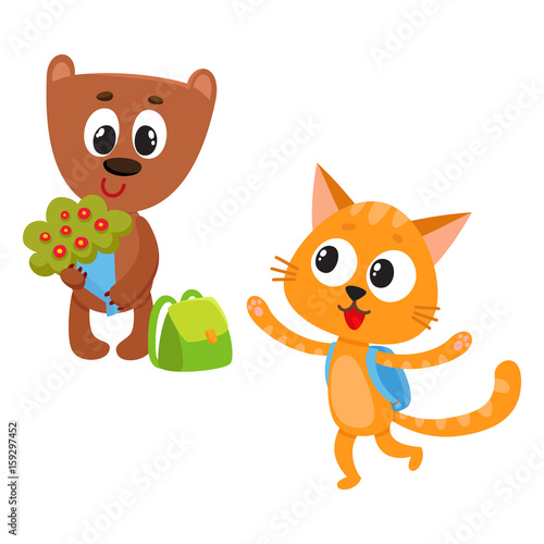 Cadres-photo bureau Chats Cute animal student characters, bear holding bunch of flowers, cat with backpack, cartoon vector illustration isolated on white background. Little animal student characters, back to school concept