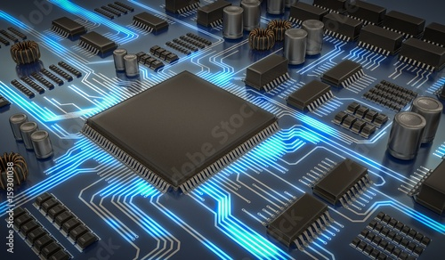 Fotografía  3D rendered illustration of electronic circuit with microchips and glowing signals