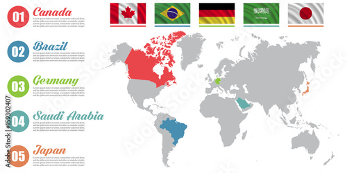 World map infographic. Slide presentation. Canada, Brazil, Germany ...