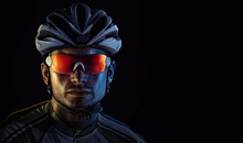 Cyclist. Dramatic Close-up Portrait