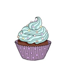 Hand Drawn Cupcake With Doodle...