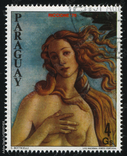 Canvas Prints Imagination young Woman From Philatelic Exhibition by Boticelli