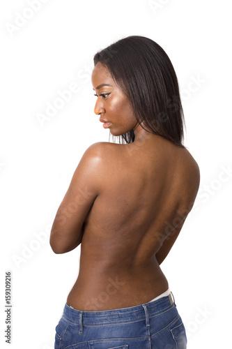 Plakat młoda kobieta stwarzających topless pokazano jej z powrotem