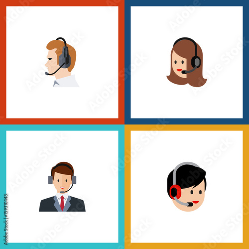 Photo  Flat Icon Call Set Of Hotline, Service, Operator And Other Vector Objects