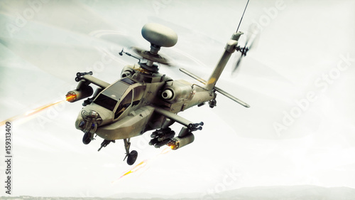Attack Apache longbow helicopter gunship engaging a target firing its rockets Canvas Print