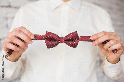 Fotografie, Obraz  Closeup of adult stylish handsome man adjusting stylish brown male bow tie while preparing for formal event