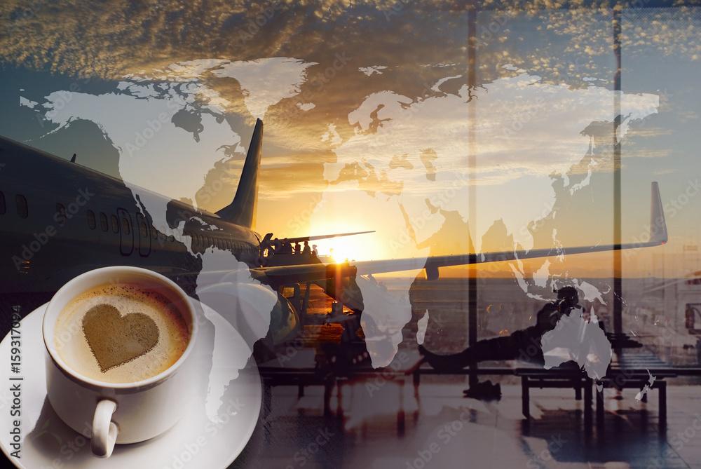 Открытки самолет и кофе