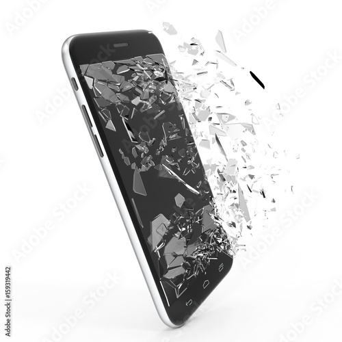 Foto Phone with broken screen isolated on white background for your design project, 3