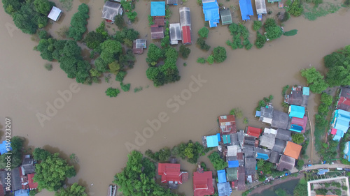 Aerial view of flood Fotobehang