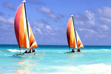 Two Catamarans On The Ocean