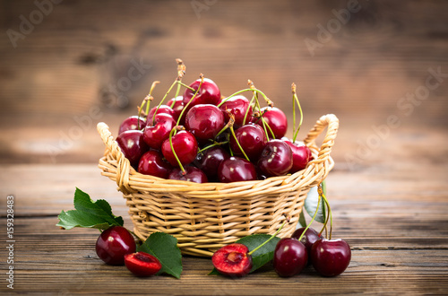 Fotografie, Obraz  Fresh cherries in the basket