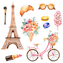 Watercolor Illustration. Watercolor Illustration Paris Style. Handpainted Texture With Bouquet,sunglasses, Cosmetics, Bicycle ,macaroons,Eiffel Tower.Perfect For You Project,wallpaper,print,wedding