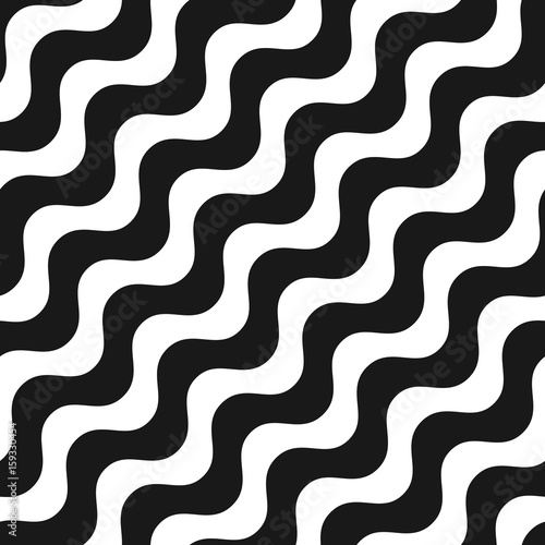 Fototapety, obrazy: Diagonal wavy lines seamless pattern. Simple black & white waves, smooth liquid stripes. Vector abstract monochrome background, repeat tiles. Design element for prints, decor, textile, manufacturing