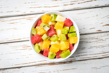 Fresh Fruit Salad On An Old Wh...