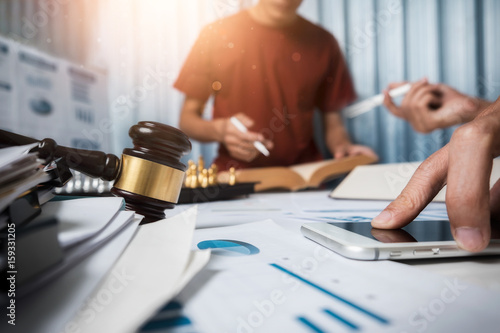 Team of business lawyer hard working in office, the attorney team is consulting for justice Canvas Print