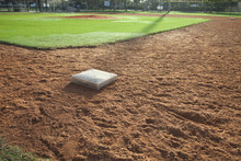 Baseball Field Infield With First Base In The Foreground