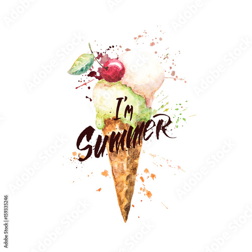 Fotografie, Tablou Watercolor ice cream cone with paint splashes and with hand-written lettering  I'm summer