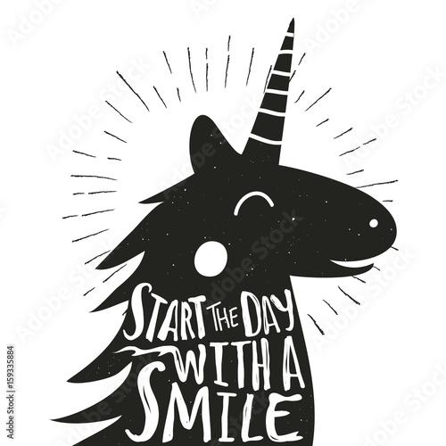 Obraz na plátně  Vector hand drawn typography poster with smiley Unicorn