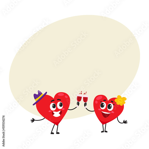 Two Hearts Clinking Glasses Celebrating Couple In Love Concept Cartoon Vector Illustration With Space For Text Funny Couple Of Hearts With Glasses Valentine Day Wedding Celebration Concept Buy This Stock Vector
