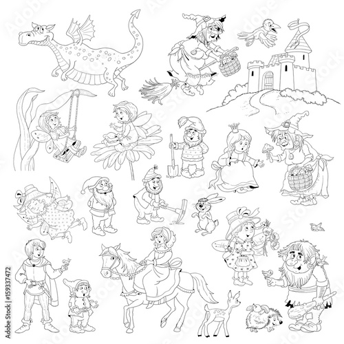 Big Collection Of Fairy Tale Characters Fairy Tale Coloring Book