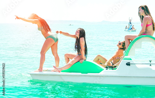 Happy Friends Girls Having Fun On Rental Boat Summer Vacation