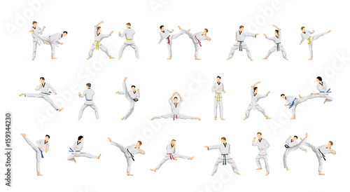 Taekwondo sport set. Wallpaper Mural