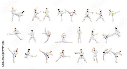 Taekwondo sport set. Canvas Print