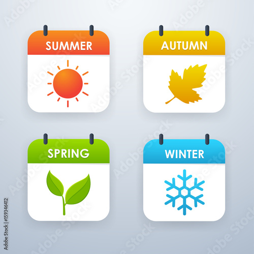 Fotografie, Tablou  Season icon design Summer, Spring, Autumn, Winter